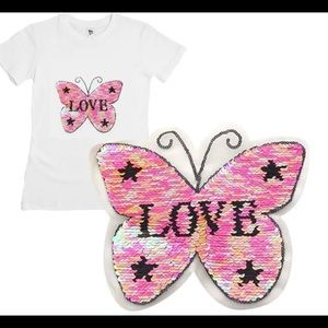 🦋Butterfly LOVE Reversible Sequined Sew On Patch